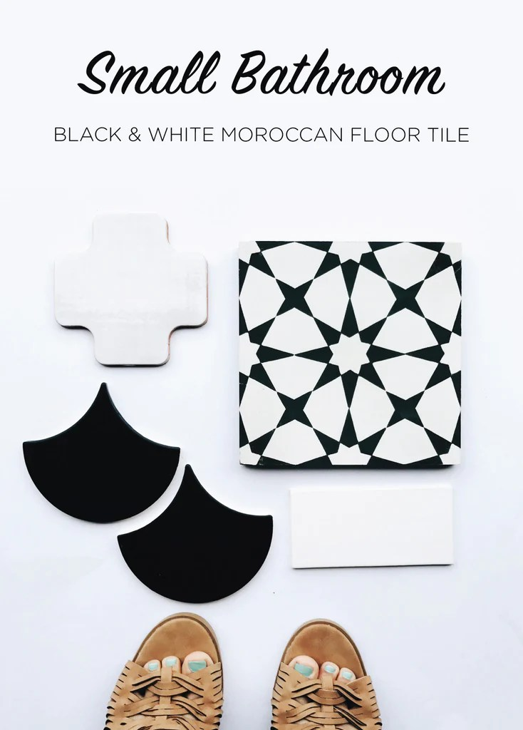 black and white moroccan floor tiles