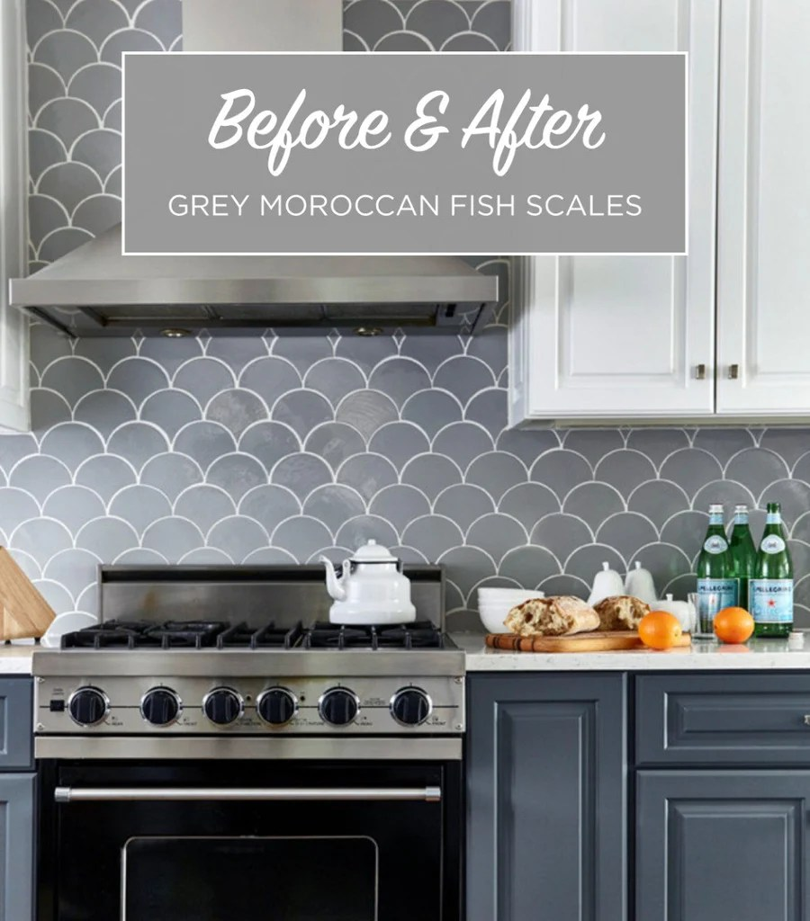 Before  After  Grey Moroccan Fish Scale Backsplash