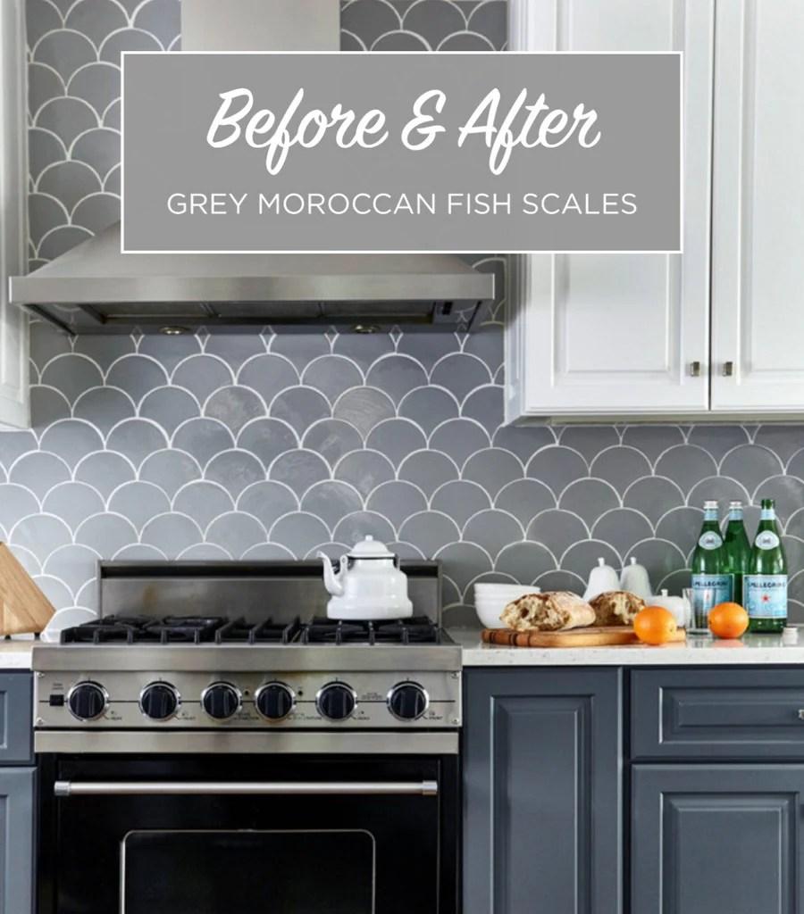 grey moroccan tile kitchen backsplash