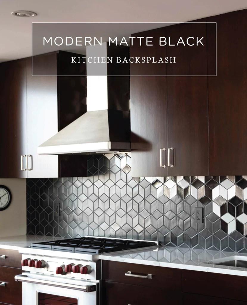 modern matte black kitchen backsplash