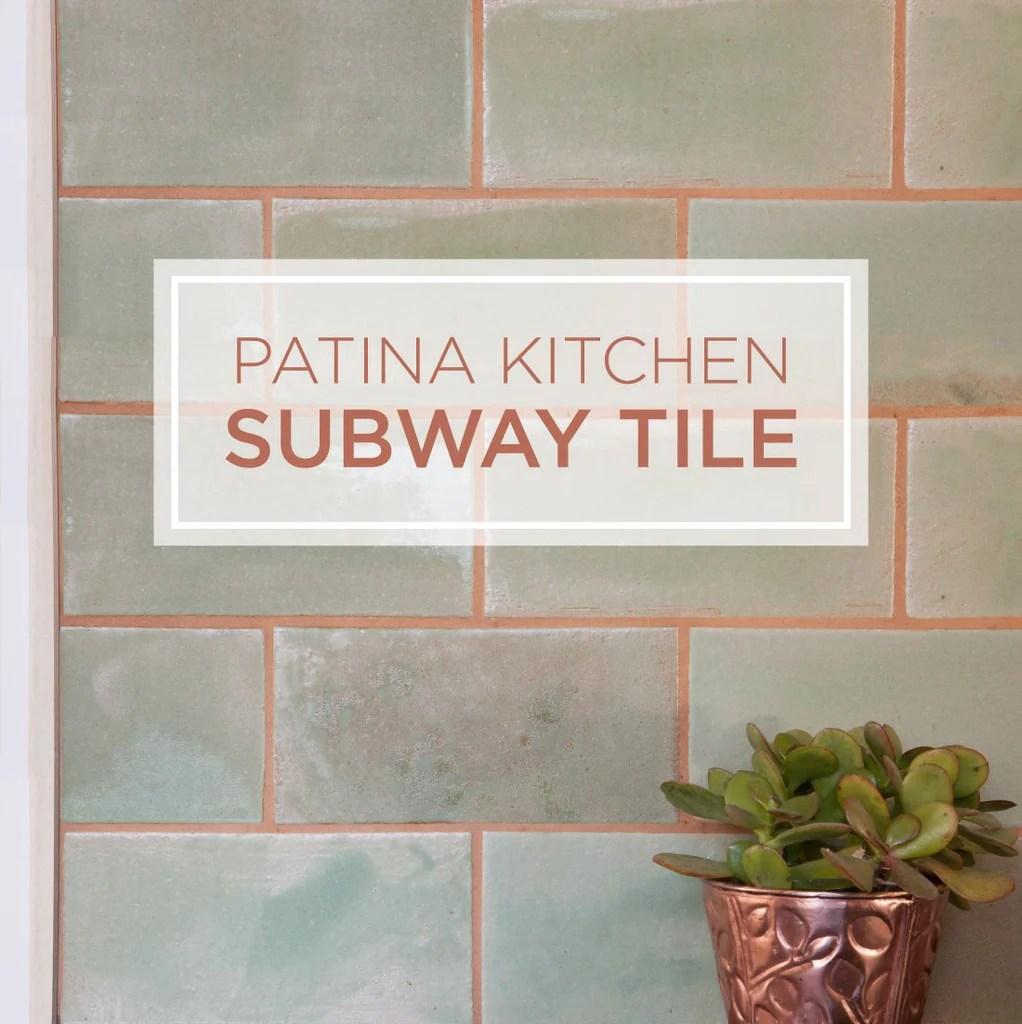 patina subway tile backsplash