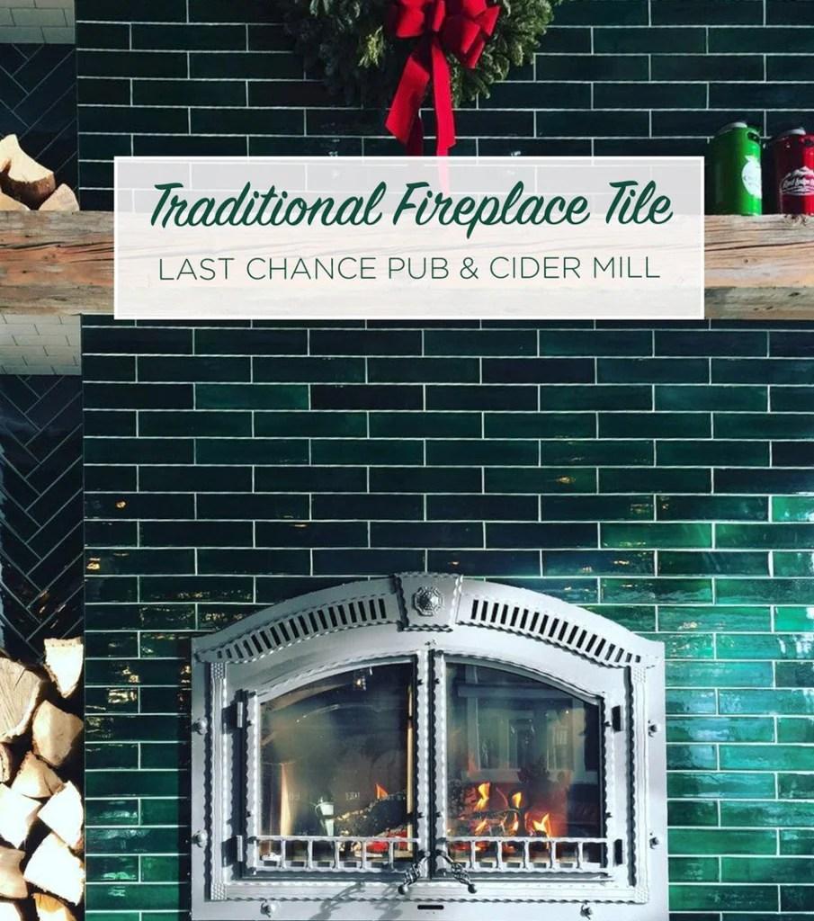 handmade ceramic green fireplace subway