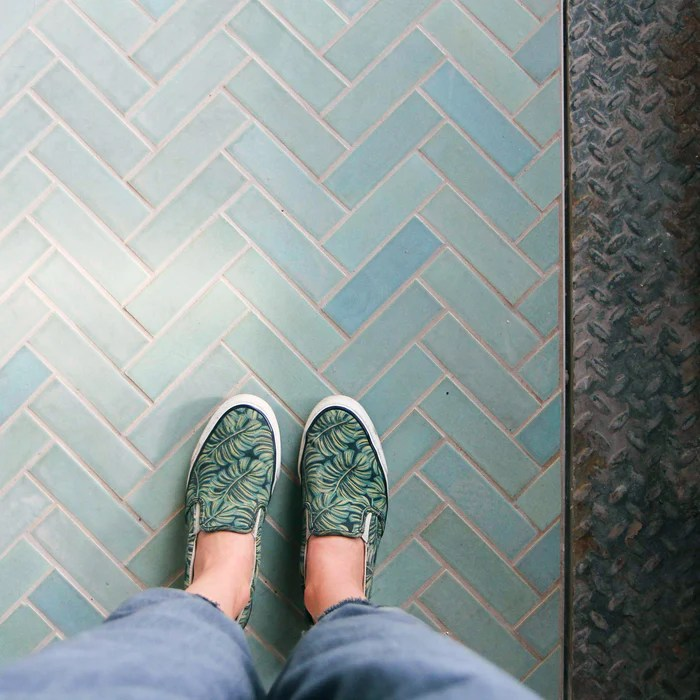 2 x6 teal herringbone tile
