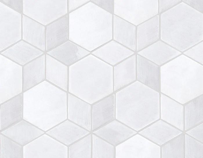 white geo star pattern ceramic tile