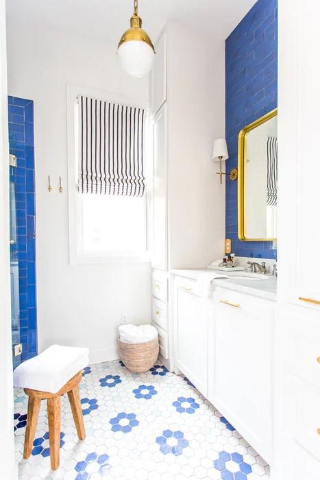 blue white flower pattern tile mercury mosaics