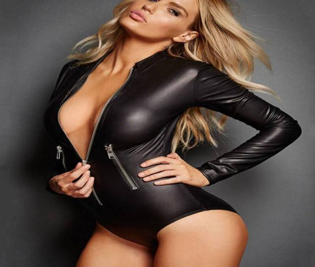 Black Leather Sexy Women Bodysuit Pvc Erotic Latex Catsuit Women Wet Look