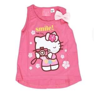 Maiou cu imprimeu Hello Kitty și fundiță aplicată. Mărimi pentru 2-9 ani. Culori: roz deschis și roz închis. Compoziție: 100% bumbac.