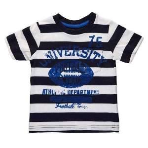 Tricou in dungi university copii, din bumbac de calitate superioară. Mărimi pentru 12 luni-4 ani. Culori: roșu (97% bumbac, 3% vâscoză) și bleumarin (100% bumbac).