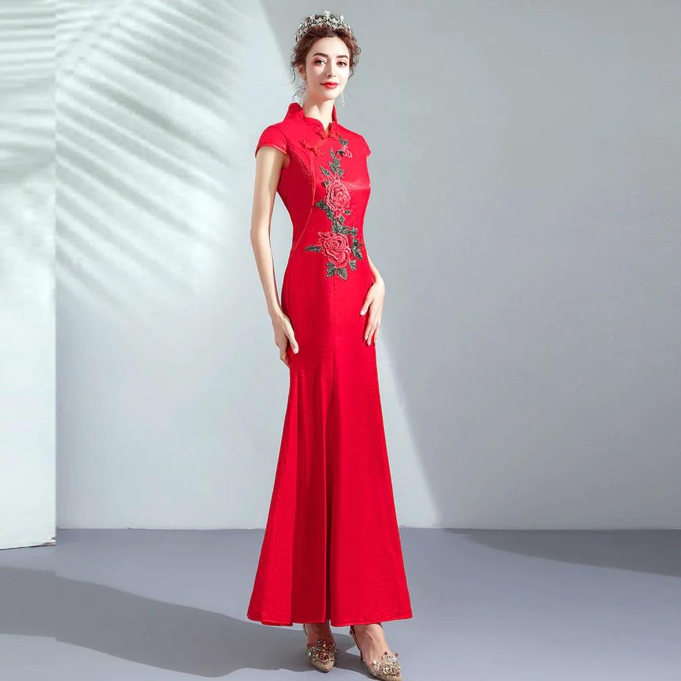 637dac50680b Floral Embroidery Mermaid Cheongsam Chinese Wedding Dress Evening Gown ·  Hot ...