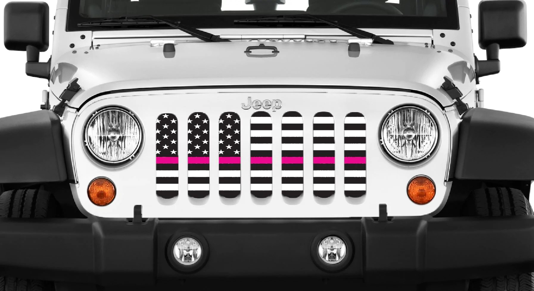 hight resolution of black and white fight like a girl pink line grille insert