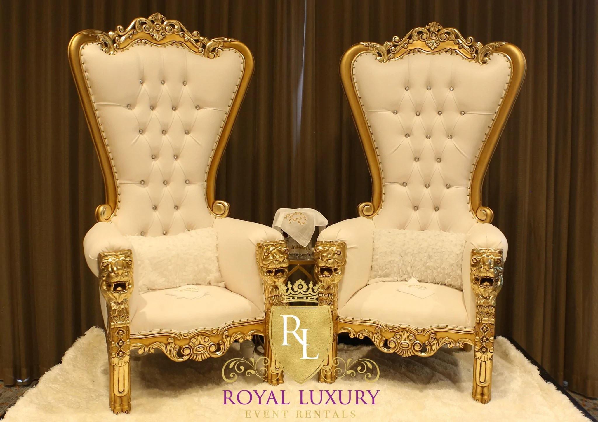 Royal Lion Gold Throne Chair with Ivory Leather  Royal