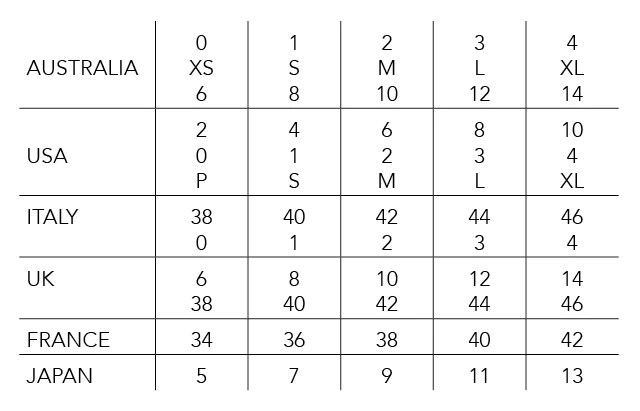 This table is for converting sizes simply find your size in the chart to see also international sizing  husk rh