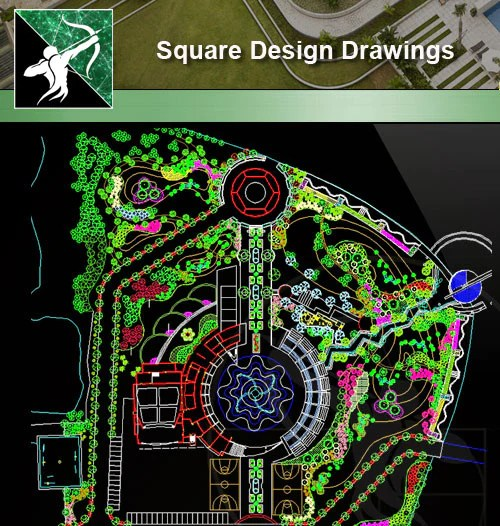 square design-landscape cad drawings