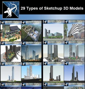 ★Best 29 Types of Large Scale Commercial Building Sketchup 3D Models Collection