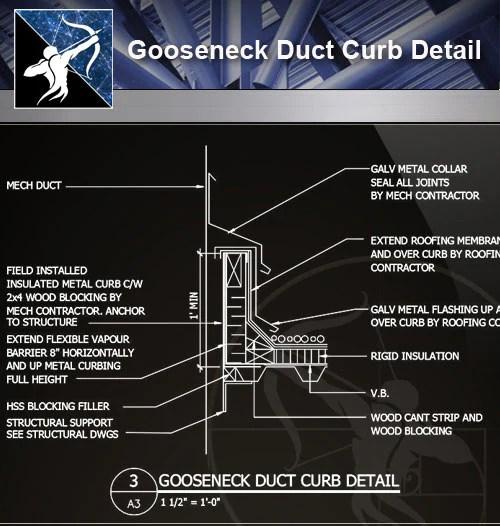 Free Floor Details】Gooseneck Duct Curb Detail – Free Cad