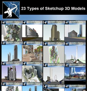 ★Best 23 Types of Commercial Building Sketchup 3D Models Collection