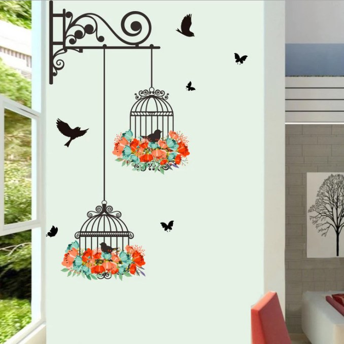 Birdcage Decorative Painting Bedroom Living Room Tv Wall Stickers