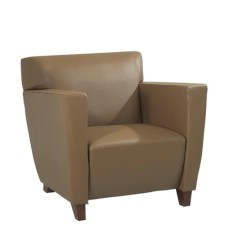 Office Club Chairs Chair Covers For Folding Star Osp Furniture Sl8871 Taupe Leather With Cherry Finish Shipped Assembled