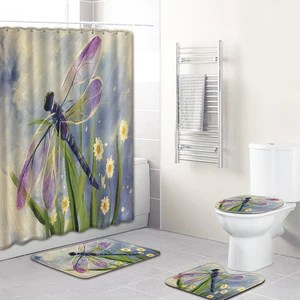 dragonfly shower curtain and rugs bathroom set