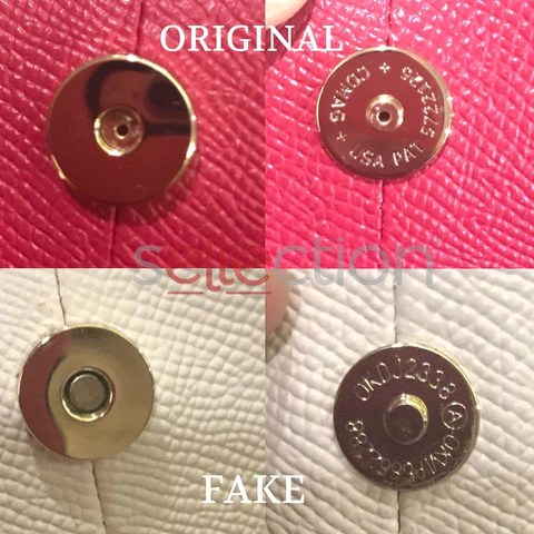 coach original and fake button