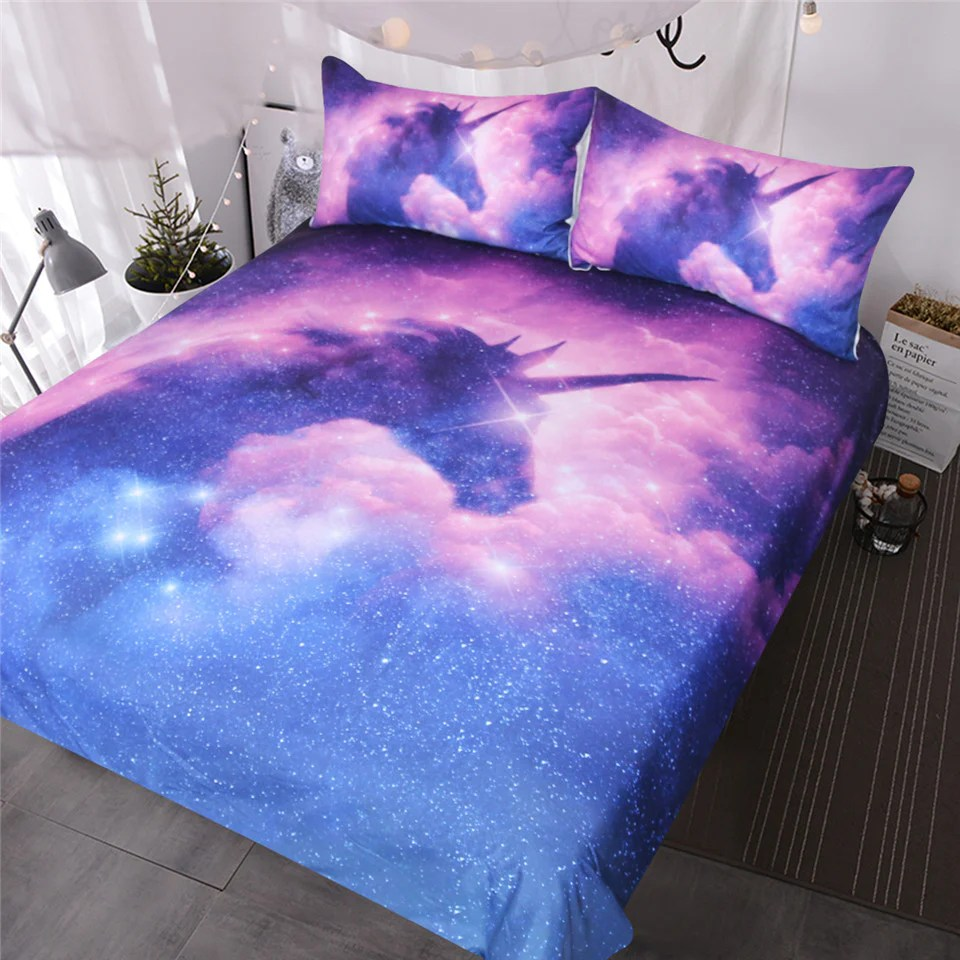 blessliving galaxy unicorn bedding set