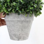 Artificial Boxwood Topiary Ball Table Top Plant With Decorative Pot 8 Inches Tall Realistic Indoor Faux Decor Silk Road Home Home Decor Artificial Topiaries