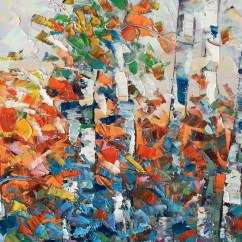 Art For Kitchen Silicone Tools Wall Birch Tree Painting Impasto Large Canvas