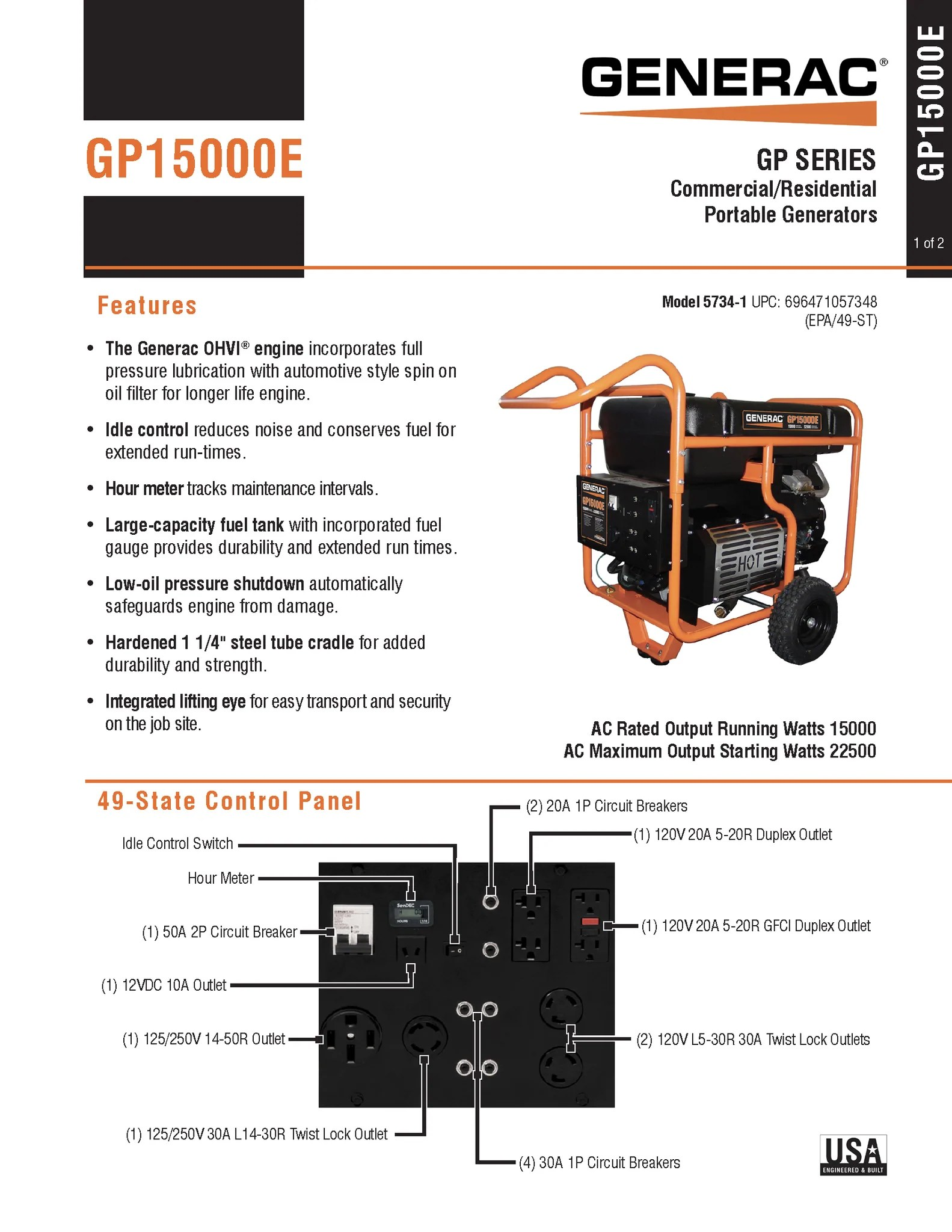 generac 5734 gp series gp15000e 15 000 watt 992 cc ohvi portable gas powered generator with electric start non carb compliant 12vdc 365 cca battery  [ 1583 x 2048 Pixel ]