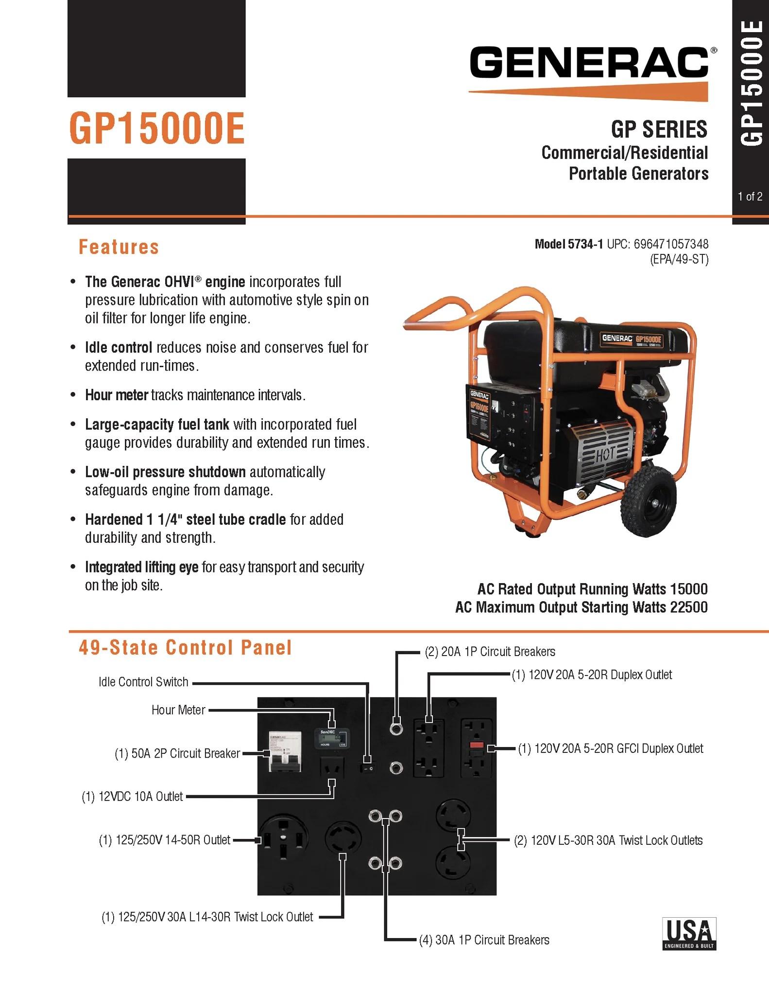medium resolution of generac 5734 gp series gp15000e 15 000 watt 992 cc ohvi portable gas powered generator with electric start non carb compliant 12vdc 365 cca battery