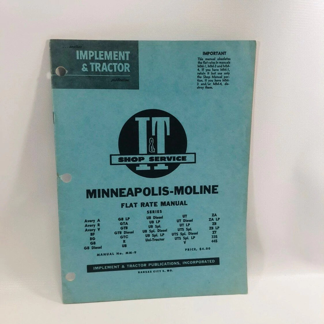 small resolution of i t shop service flat rate manual no mm 9 minneapolis moline 1959