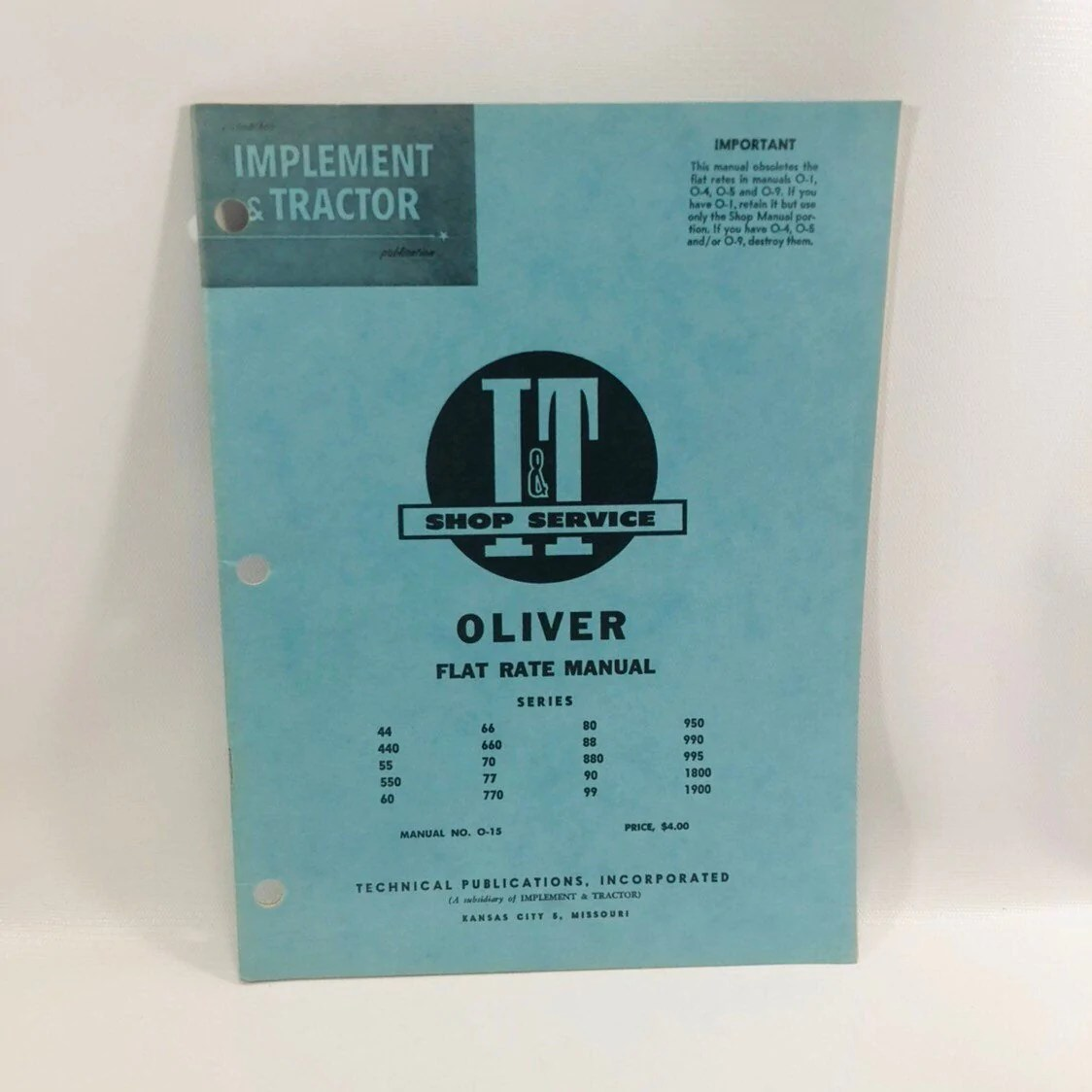 hight resolution of i t shop service flat rate manual no o 15 oliver 1962