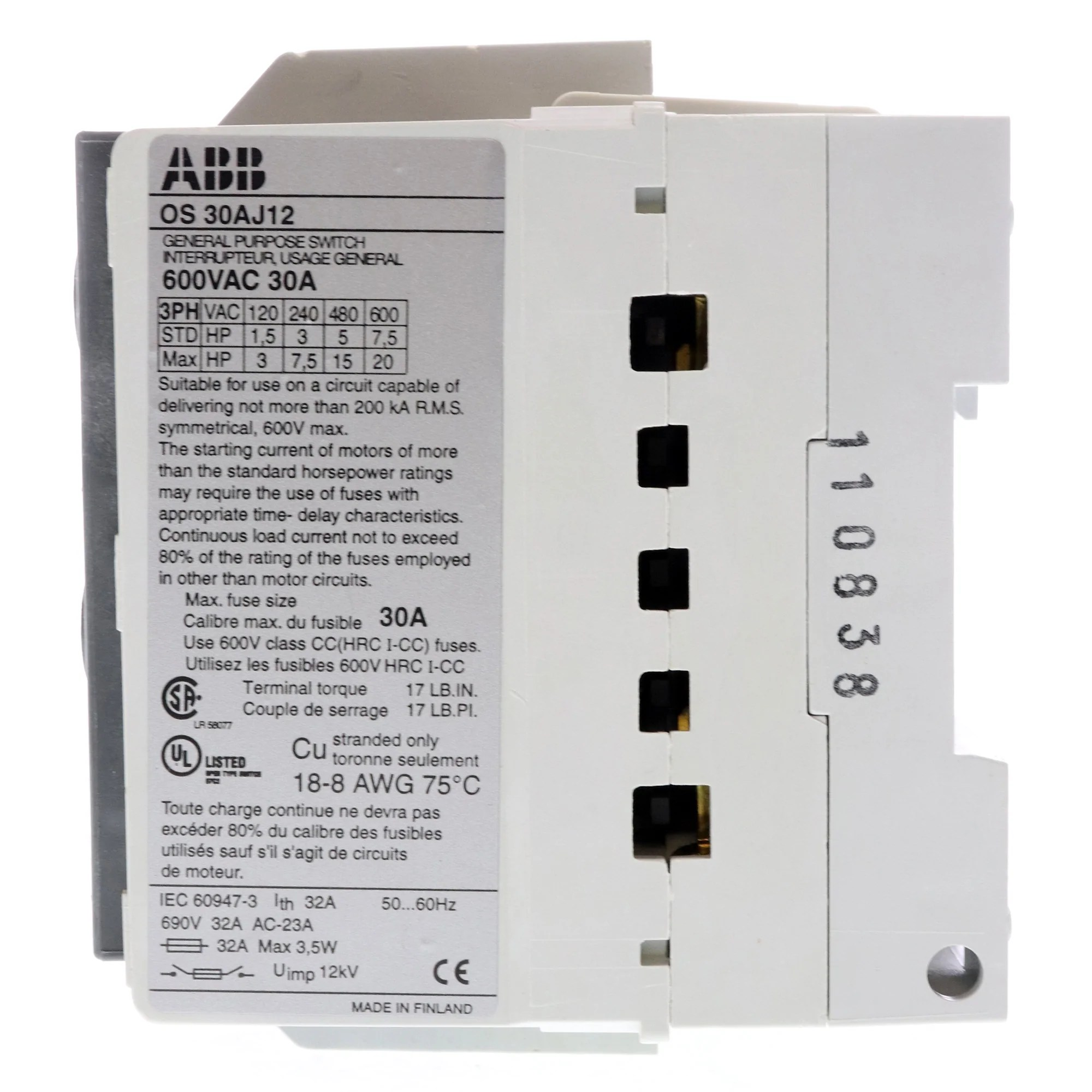 medium resolution of abb os 30aj12 fused open disconnect switch 30a 600v class j