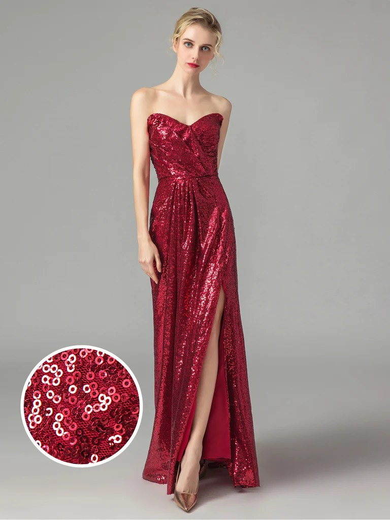 Vintage Sequined Strapless Bridesmaid Dress – Retro Stage - Chic ...