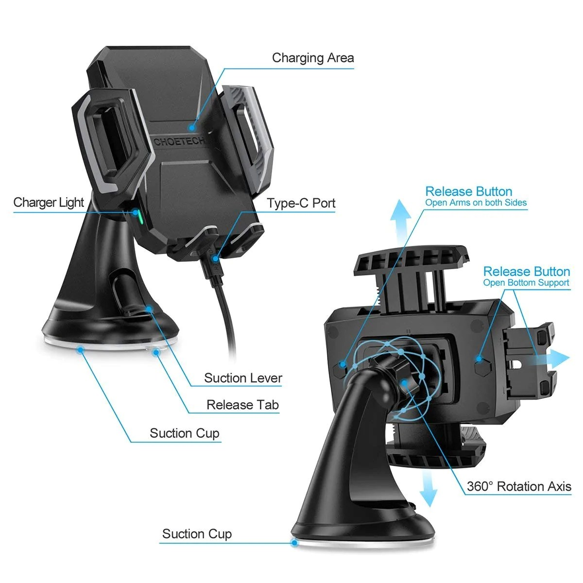 choetech fast wireless car charging dock diagram  [ 1200 x 1200 Pixel ]