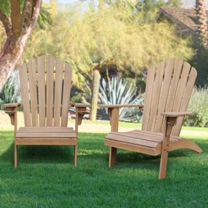 richmond solid teak wood adirondack chair with cup holder