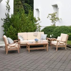 benton rustic teak wood 5 piece patio conversation set with taupe cushion