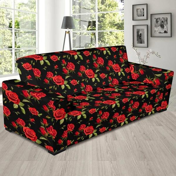 Home details reversible loveseat cover in burgundy/black. Red Rose Themed Print Sofa Slipcover - JTAMIGO.COM