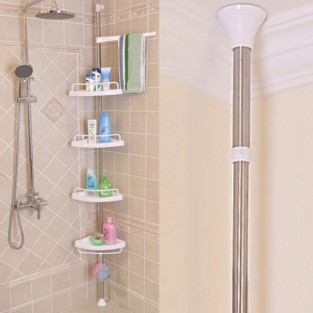 etagere d angle de la salle de bains avec barre telescopique etagere de controle de la douche