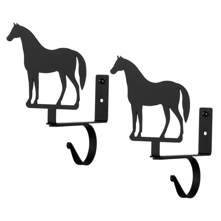 wrought iron standing horse curtain rod shelf brackets set