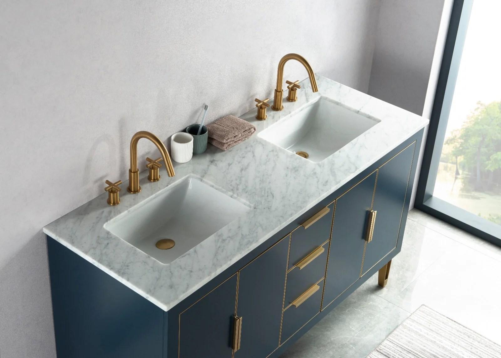 rubeza 1500mm dukes vanity unit with carrara marble top dark blue gold no hole