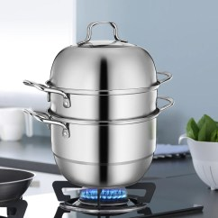 Steamer Kitchen Stove Stainless Steel 3 Tier Layer Cooking Pot Rice Cooker Double Boilder