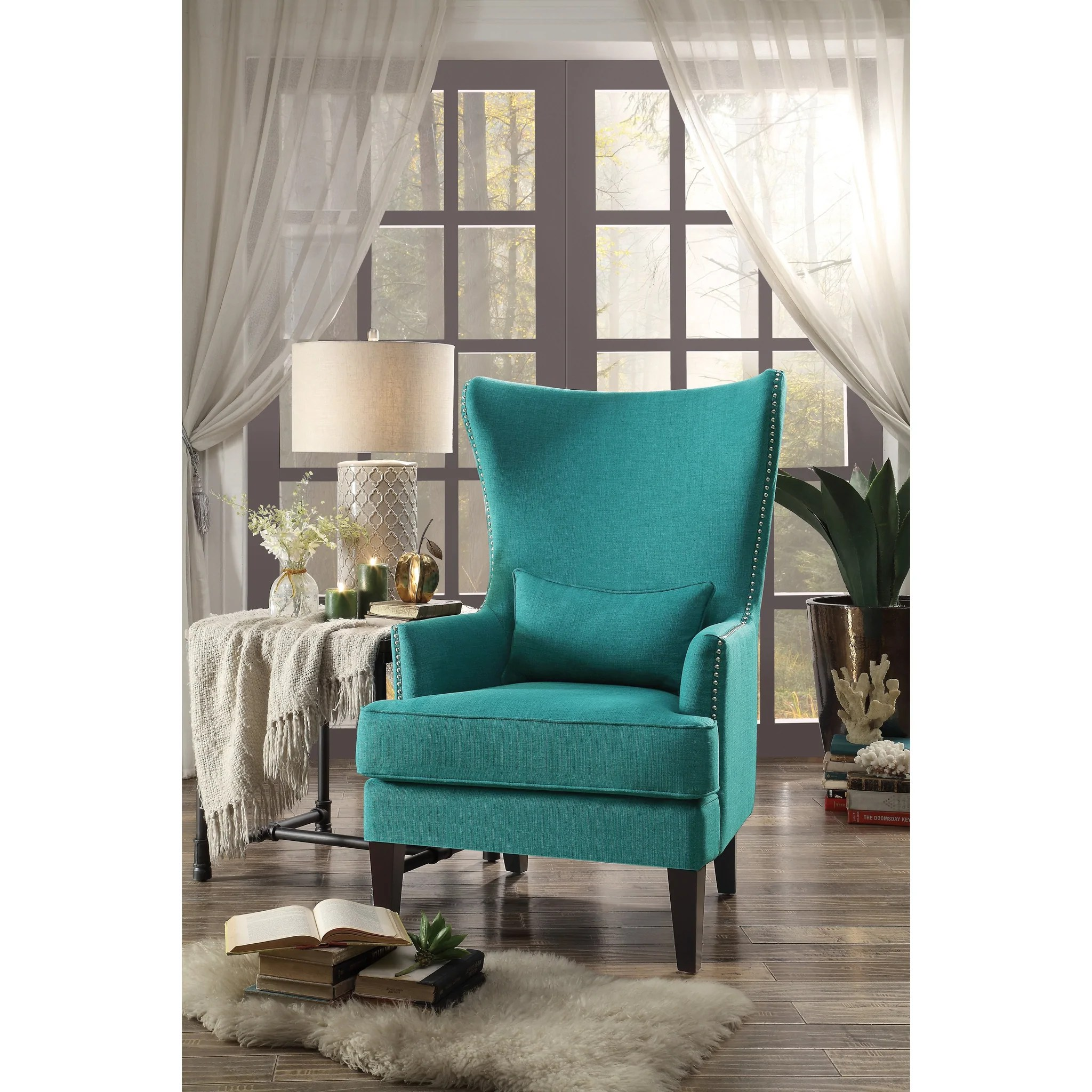 Teal Wingback Chair Avina Teal Wingback Accent Chair With Kidney Pillow 1296 Luna