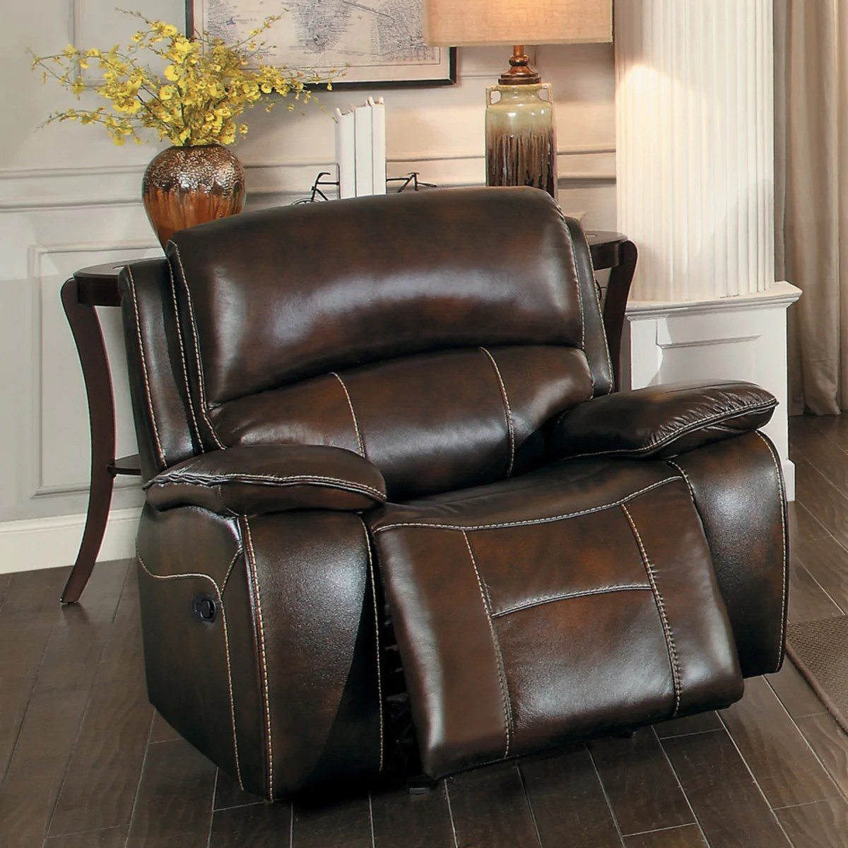 Double Recliner Chair Mahala Brown Manual Double Reclining Chair