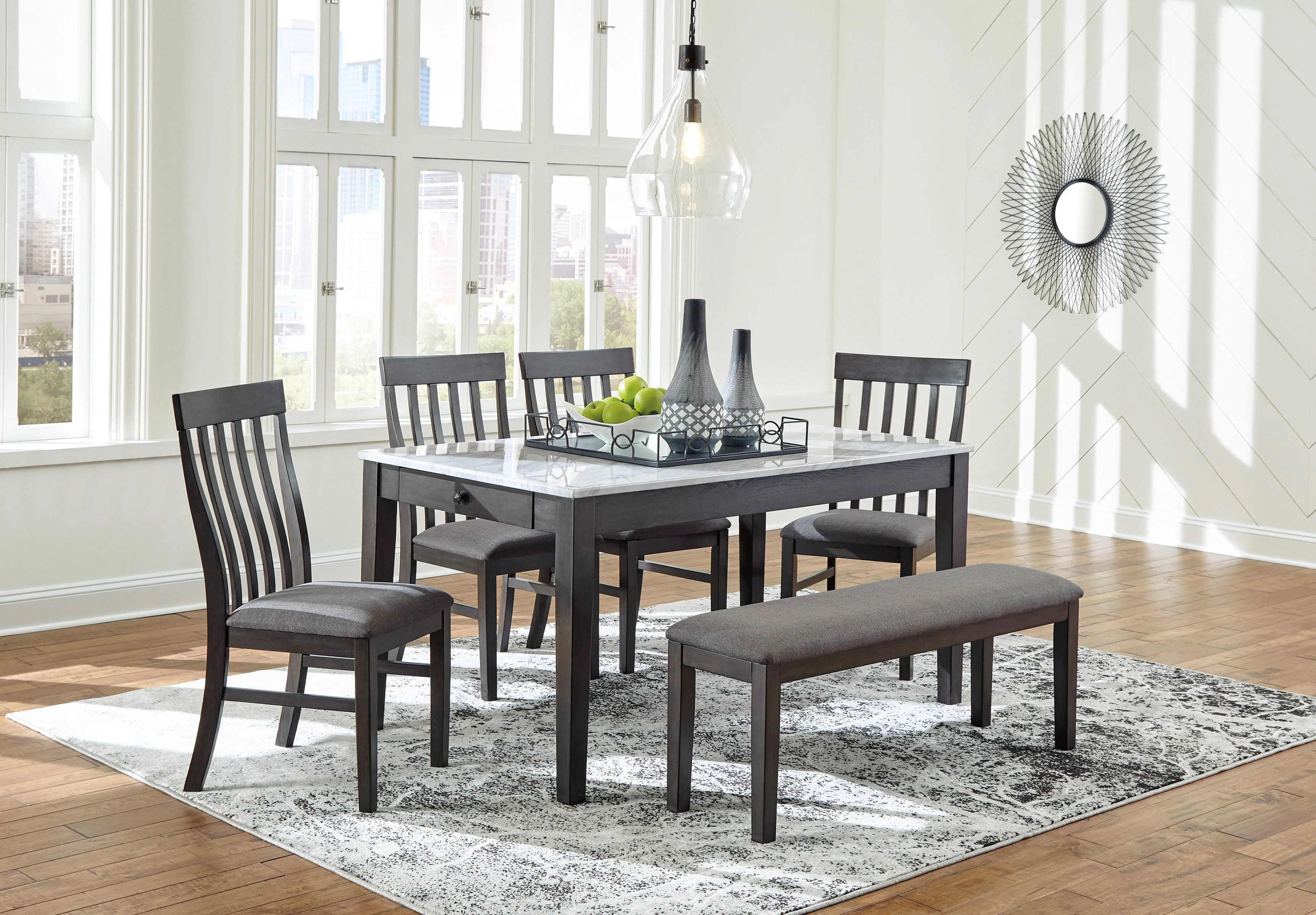 Special Luvoni White Charcoal Dining Set From Ashley Luna Furniture