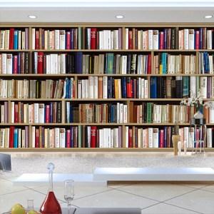 mural bookshelf study bookcase wallpapers desktop sofa european backdrop paper library painting murals living