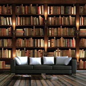 wall 3d bookcase bookshelf background retro mural walls tv sofa custom zoom books elders european club study wallpapers living