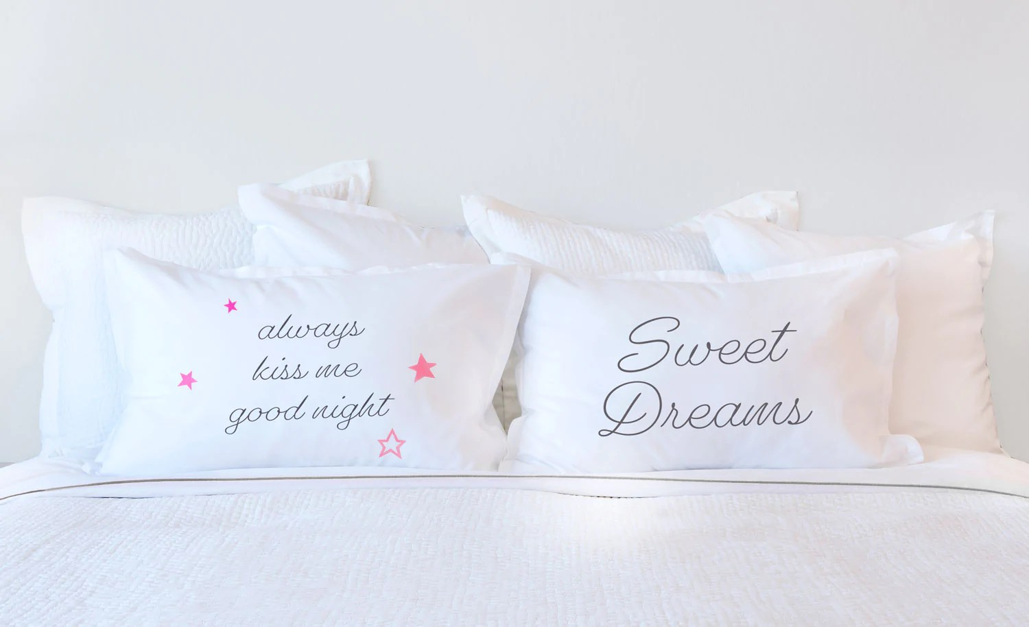always kiss me goodnight inspirational quotes pillowcase collection