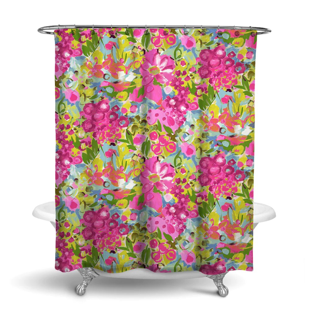 jardin floral shower curtain pink blue green flower design