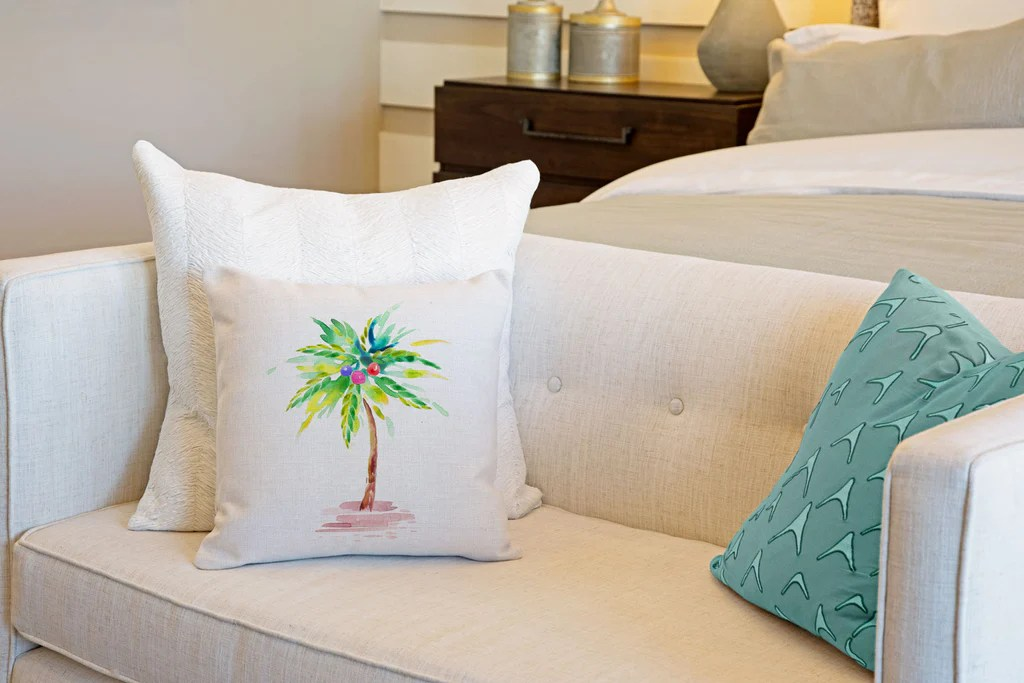 tropical palm tree throw pillow cover coastal designs throw pillow cover collection