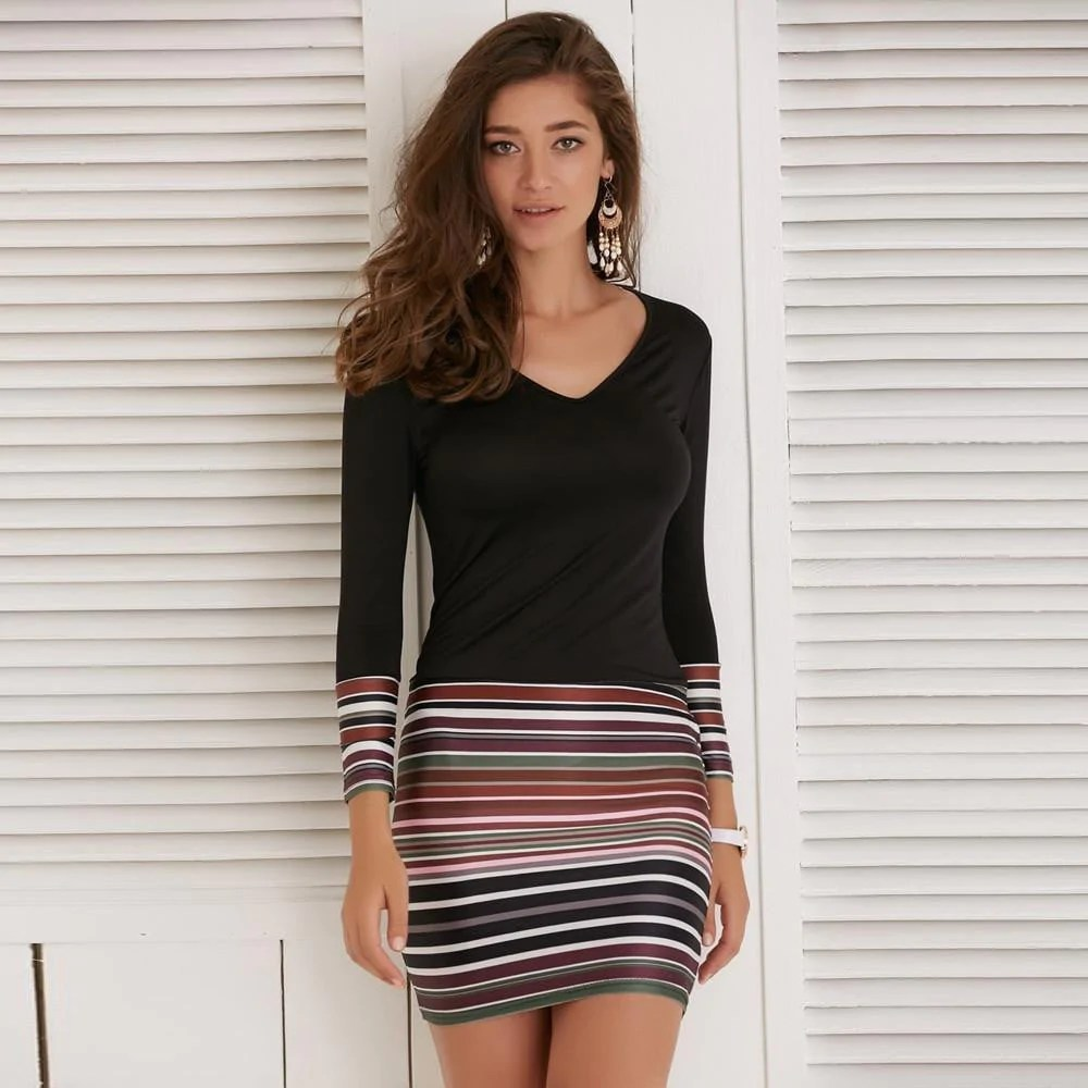 Striped Maxi Boho Dress Evening Cocktail Long Sleeve Party